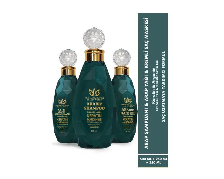3'lü Set Arap Yağı & Şampuanı & 2si 1 Arada Kremli Maske